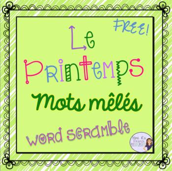 Printemps - mots mêlés / FREE French spring vocabulary scramble