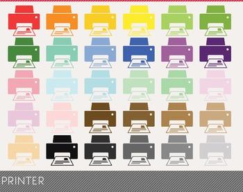 Printer Digital Clipart, Printer Graphics, Printer PNG, Rainbow Printer Digita
