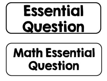 Printer Friendly 1st Grade Go Math! Essential Questions for the Year!