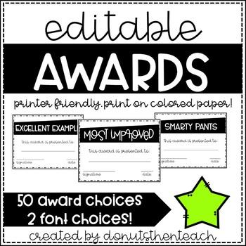 Printer Friendly Awards - Editable!