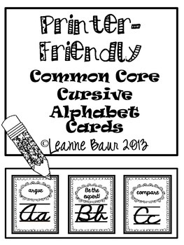 Printer-Friendly Common Core Cursive Alphabet