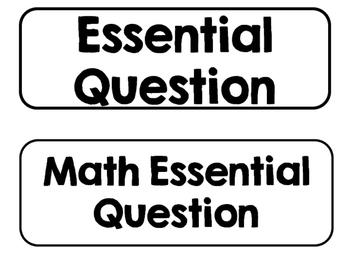 Printer Friendly Kindergarten Go Math! Essential Questions for the Entire Year!