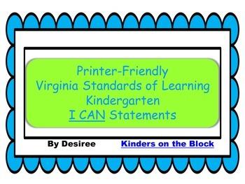 Printer-Friendly Kindergarten VA Standards of Learning Bundle