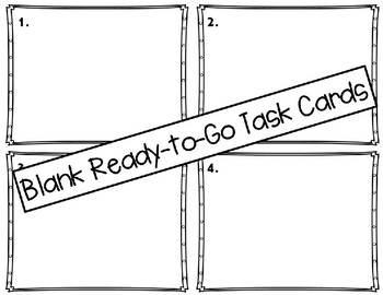 Printer Friendly Ready to Go Blank Task Cards Set 3: Just