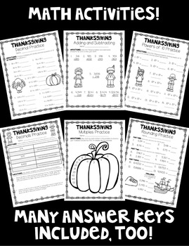 Printer-Friendly Thanksgiving Pack! Math AND Literacy Activities! *Grades 4-5*