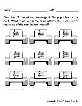 Printer Note ID Worksheet