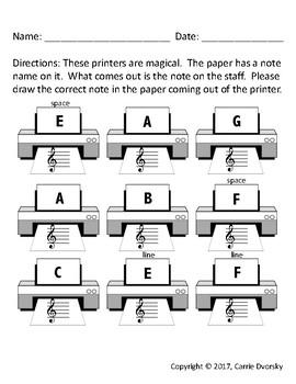 Printer Note Writing Worksheet