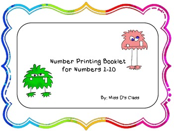 Printing Booklet for Numbers 1 Through 10