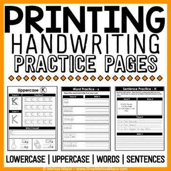 Printing Handwriting Practice Pages -  {130 Pages!}
