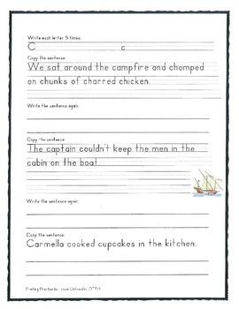 Printing Handwriting Sentence Writing Copy Work Middle School Grades 4. 5. & 6