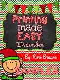 FREEBIE Printing Made Easy {No Prep December} Sampler