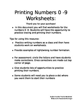 Printing Numbers 0-9