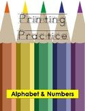 Printing Practice -- Alphabet & Numbers