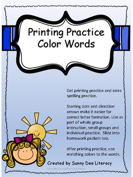 Printing Practice Color Words