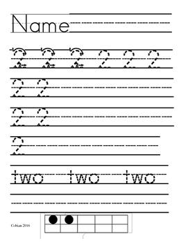 Printing Practice Numbers 1-10