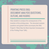 Printing Press DBQ: Document Analysis Questions, Outline, and Rubric