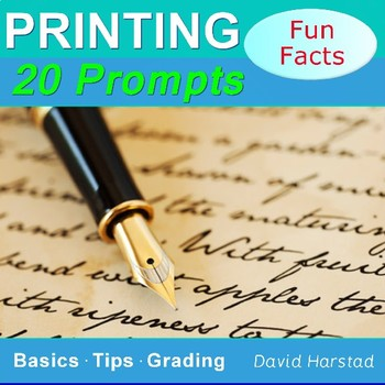 Printing Prompts | 20 Printable Handwriting Worksheets (Grades 3-7) | Fun Facts