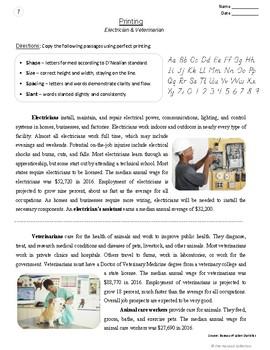 Printing Prompts   24 Printable Handwriting Worksheets (Grades 3-7)   Careers