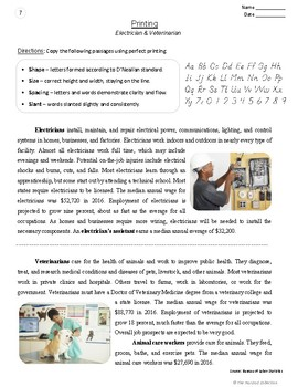 Printing Prompts   24 Printable Handwriting Worksheets (Gr. 3-7)   Careers