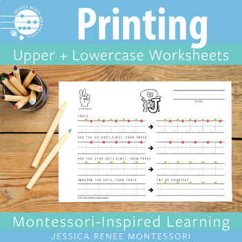 Capital and Lowercase Printing Practice Sheets