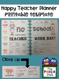 Printing Template for the Happy Planner (Teacher Edition) 2016-2017