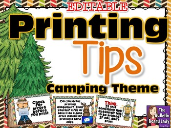 Printing Tips -Camping Theme for Computer Lab