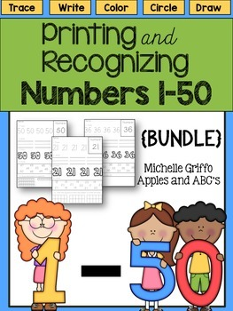 Printing and Recognizing Numbers 1-50 {Bundled Pack}