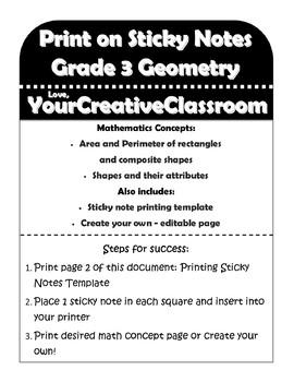 Printing on Sticky Notes - Grade 3 Geometry