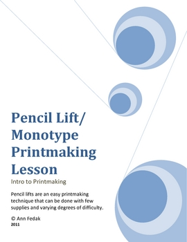 Printmaking: Pencil Lift Monotype Print Lesson