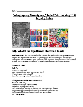 Printmaking Student Activity Guide