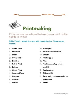 Printmaking Terms & Definitions (Matching)