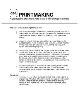 Printmaking Types