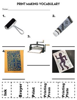 Printmaking Vocabulary Worksheet