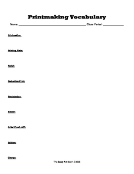 Printmaking Vocabulary Worksheet with Answer Key
