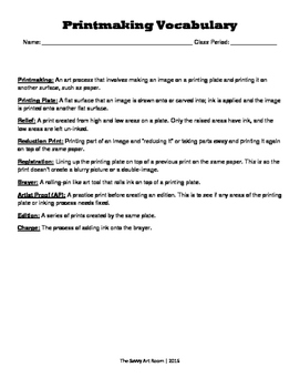 Printmaking Vocabulary Worksheet with Answer Key