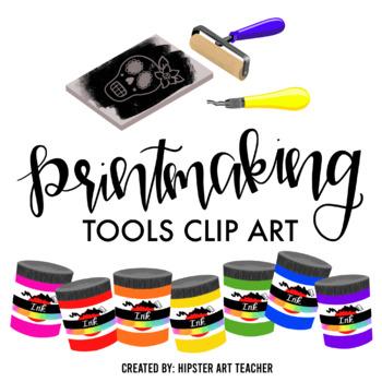 Printmaking tools clip art
