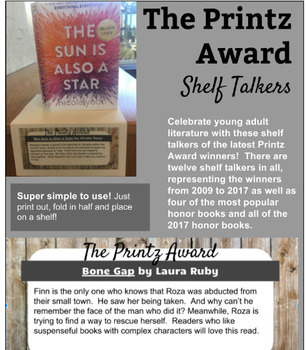 Printz Award Shelf Talkers and ¨Watch Party¨ Display! -- with 2017 winners!