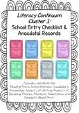 Prior To School Checklist: Complete Cluster 1 (Australian