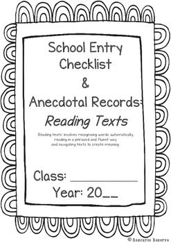 Prior To School Checklist: READING TEXTS (Australian Liter