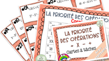 Priorité des opérations avec exposants! 27 cartes à tâches!