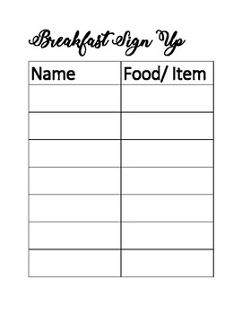 Character Breakfast- Breakfast Sign Up
