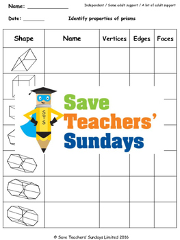 Prisms worksheet, powerpoints and more