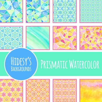 Prismatic Watercolor Painted Patterns / Backgrounds / Digital Paper Clip Art
