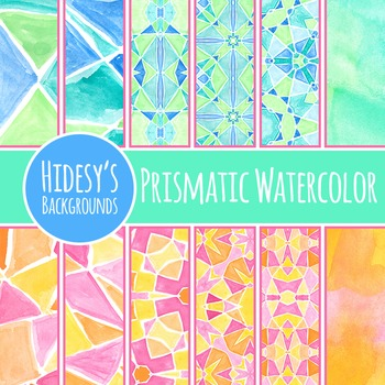 Prismatic Watercolor Painted Patterns / Backgrounds / Digi