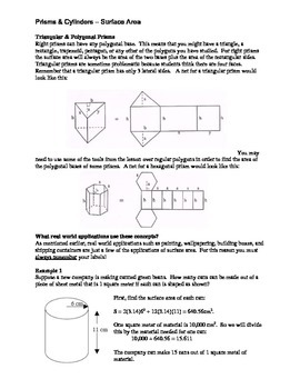 Geometry: Surface Area:  Prisms & Cylinders