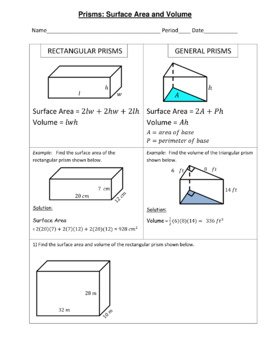 Prisms Surface Area and Volume Practice Geometry