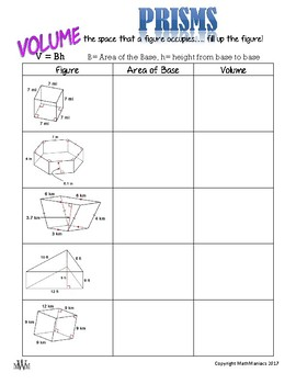 Prisms: Volume, Lateral Area, & Surface Area GUIDED NOTES