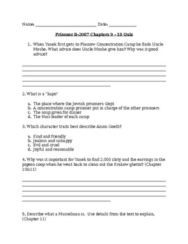 Prisoner B-3087 Chapter 9-18 Quiz