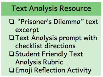 Prisoner's Dilemma Text Analysis Essay Resource