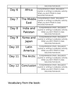 Prisoners of Geography Reading Schedule (and unit plan template)